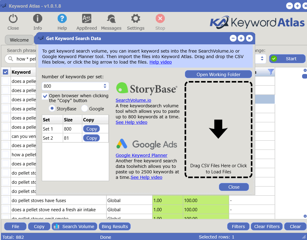 export keywords to find search volume