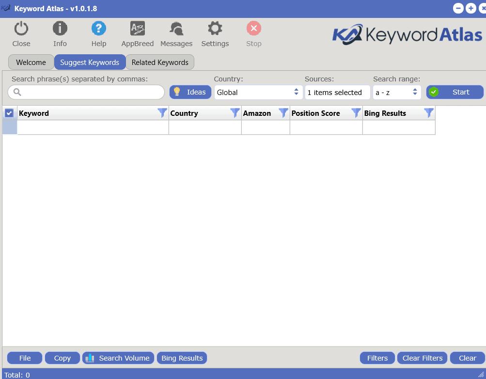 keyword atlas start screen