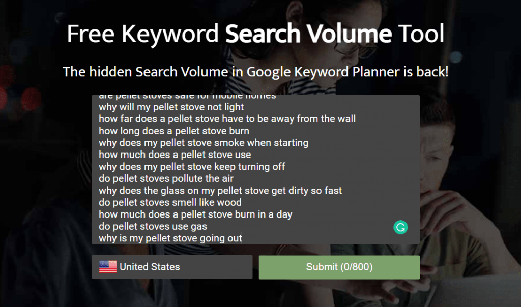 exported keywords in SearchVolume.io